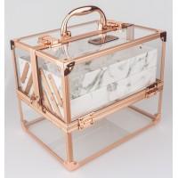 Професионален куфар за грим прозрачен Rose Marble