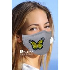 Маска трислойна с клапа и филтър активен въглен PM2.5 дизайн 13 пеперуда