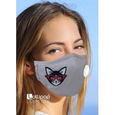 Маска трислойна с клапа и филтър активен въглен PM2.5 дизайн 27 котка