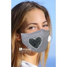 Маска трислойна с клапа и филтър активен въглен PM2.5 дизайн 48 сърце