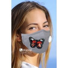 Маска трислойна с клапа и филтър активен въглен PM2.5 дизайн 8 пеперуда G