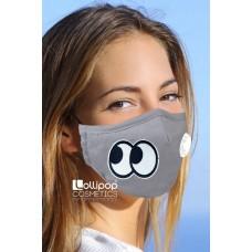 Маска трислойна с клапа и филтър активен въглен PM2.5 дизайн 80 очи